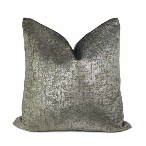 Zazie Luxe Metallic Pewter Gray Velvet Pillow Cover - Aloriam