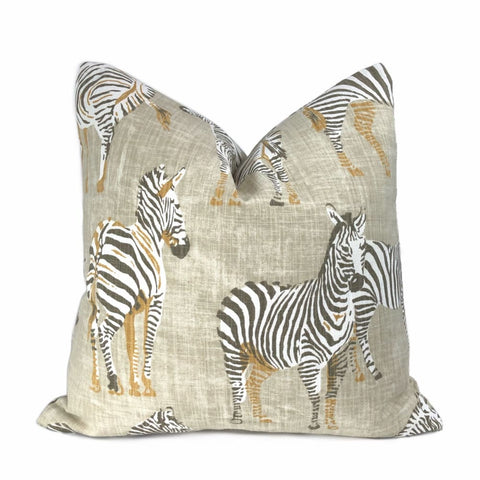 Zebra Herd Beige Animal Safari Print Pillow Cover - Aloriam