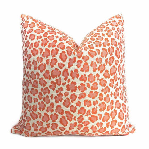 Zimba Pink Orange Cream Leopard Spot Woven Pillow Cover