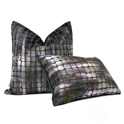 Zinc Textile Tobia Multi Color Gray Purple Iridescent Geometric Tile Velvet Pillow Cover