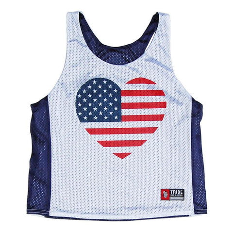 American Heart Flag Reversible Racerback Lacrosse Pinnie