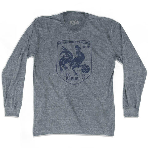 France Rooster Shield 2018 World Cup Champions Adult Tri-Blend Long Sleeve Soccer T-shirt