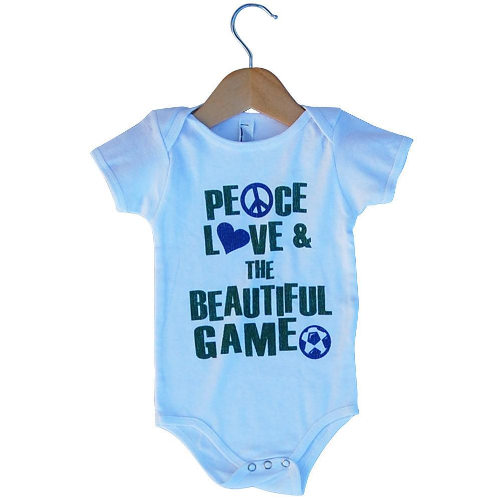 Infant Peace Love and The Beautiful Game Soccer Onesie in White by Neutral FC