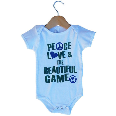 Infant Peace Love and The Beautiful Game Soccer Onesie