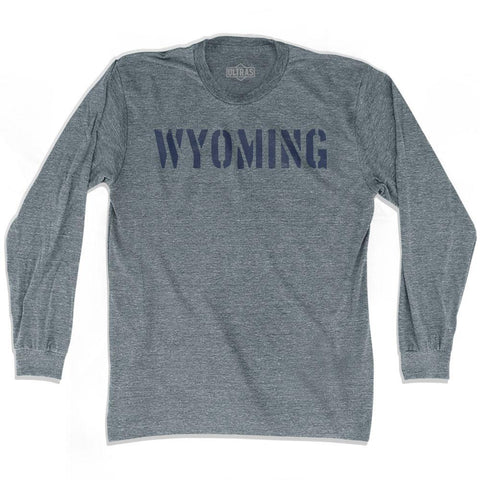 Wyoming State Stencil Adult Tri-Blend Long Sleeve T-shirt