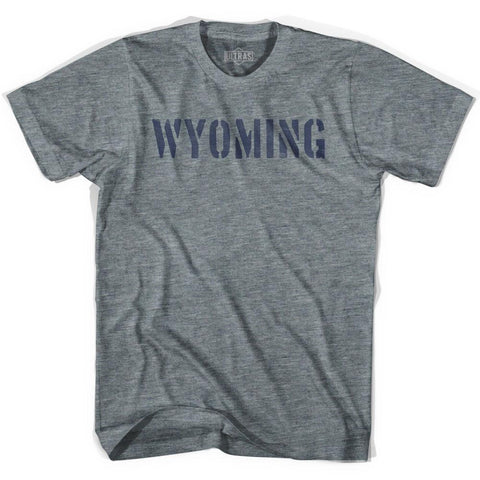 Wyoming State Stencil Womens Tri-Blend T-shirt