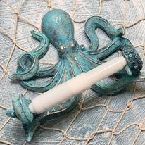 Octupus toilet paper holder fixture after being upcycled with SeaPaints
