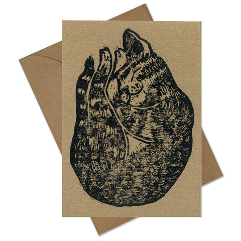 Lino printed 'Sleeping Tabby' Greetings Card