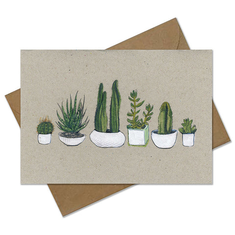 Hand finished 'Watercolour Cactus & Succulent' Greetings Card