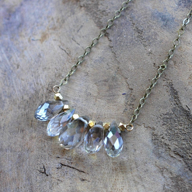 Champagne Crystal Drop and Brass Necklace - HXN29 - Harlow Jewelry