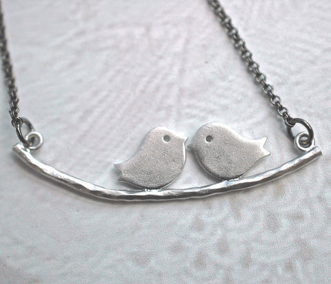 Silver Lovebirds Necklace - GEN524