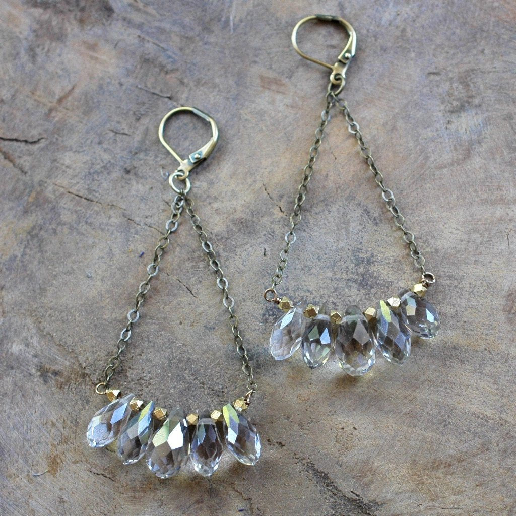 Champagne Crystal Drop and Brass Earring - HXE19 - Harlow Jewelry