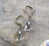 Simple Champagne Crystal Drop Earrings- handmade jewelry