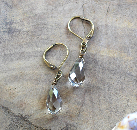 Simple Champagne Crystal Drop Earrings - HXE20