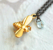 Cute 3-D Bee Necklace - GEN115 - Harlow Jewelry - 2