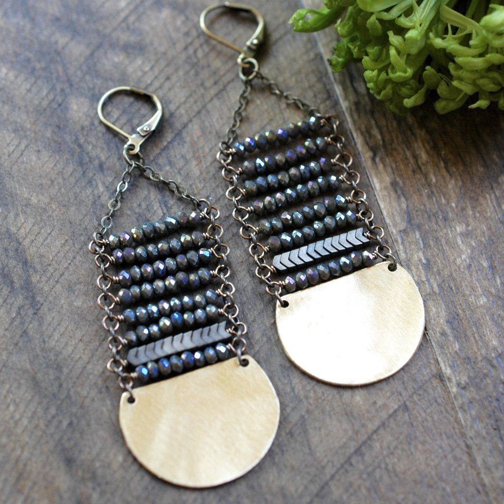 Midnight Juniper Long Stack Earring - handmade jewelry - Harlow Jewelry