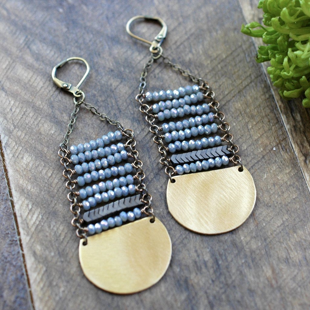 Blue Sage Crystal Long Stack Earrings - handmade jewelry - Harlow Jewelry