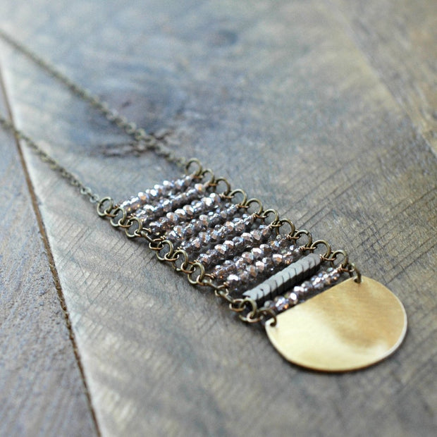 Gold Crystal Long Stack Necklace - handmade jewelry - Harlow Jewelry - 1