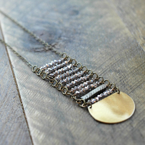 Gold Crystal Long Stack Necklace - HXN41