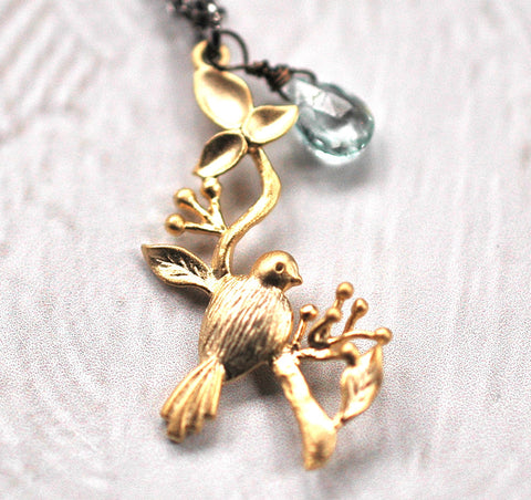 Bird on a Hanging Branch Necklace - GEN514