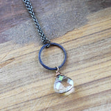 Champagne Heart Crystal Necklace - handmade jewelry- Harlow Jewelry
