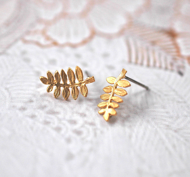 Gold Fern Earrings - GEE511 - Harlow Jewelry - 2