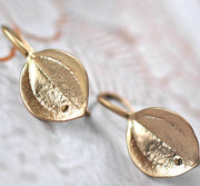 Gold Leaf Hook Earrings - GEE505 - Harlow Jewelry - 2
