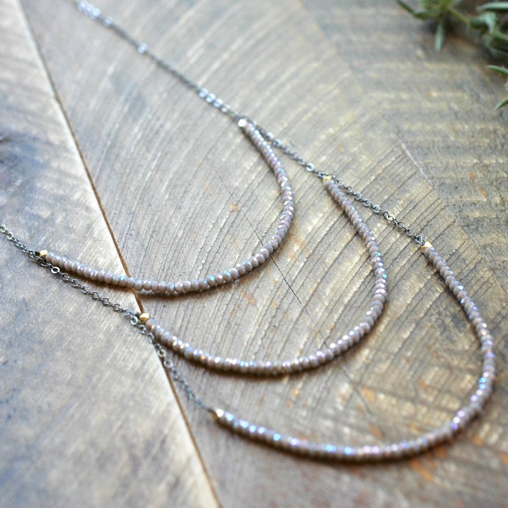 Champagne Gray 3 Layer Long Necklace - handmade jewelry- Harlow Jewelry