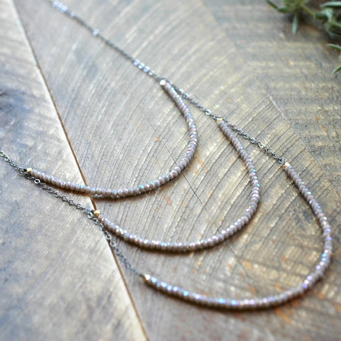 Champagne Gray 3 Layer Long Necklace