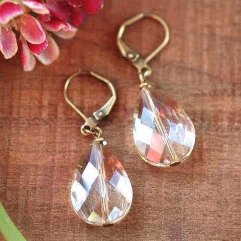 Blush Moonstone & Brass Hexagon Earrings