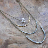 4 Layer Crystal, Brass and Ice Quartz Necklace -handmade jewelry- Harlow Jewelry