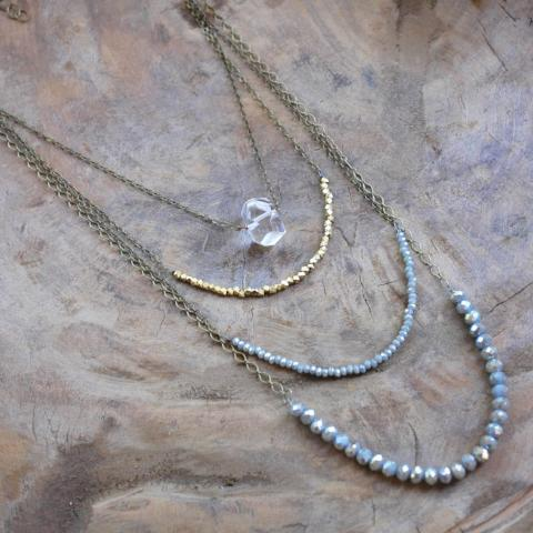 Blue Sage Long Stack Necklace