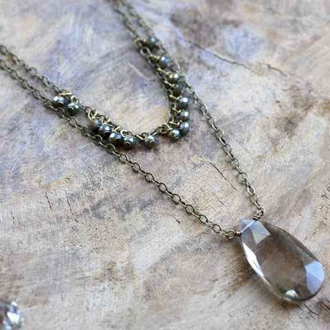 Dark Juniper and Smoky Quartz Necklace - HXN04