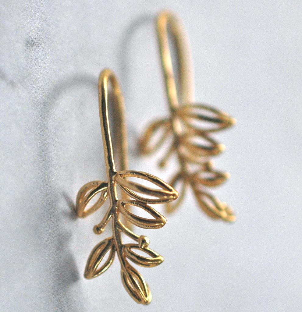 Gold branch Earrings - handmade jewelry gift - Harlow Jewelry