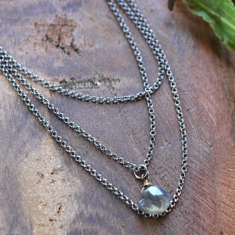3 Layer Necklace with Labradorite Drop - HXN51