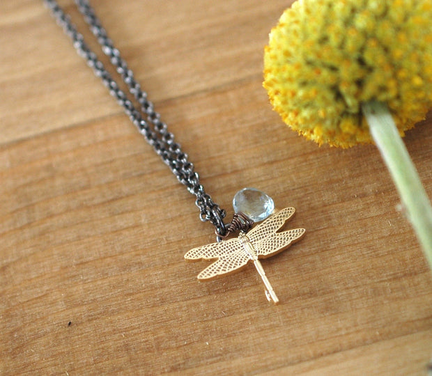 Dragonfly Necklace - GEN505 - Harlow Jewelry - 2