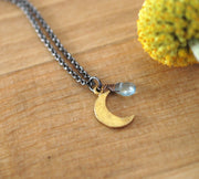 Tiny Moon Necklace - GEN519 - Harlow Jewelry - 2