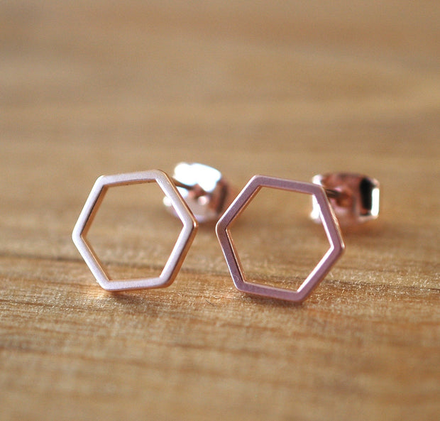 Rose Gold Hexagon Earrings -GEE507 - Harlow Jewelry - 2