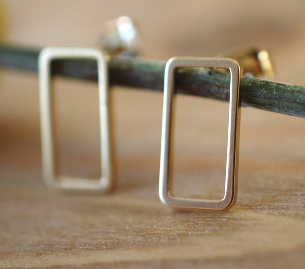 Gold rectangle Earrings - GEE503 - Harlow Jewelry - 2