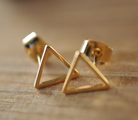 Gold Triangle Earrings - GEE514