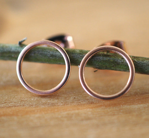 Rose Gold Circle Earrings - GEE516