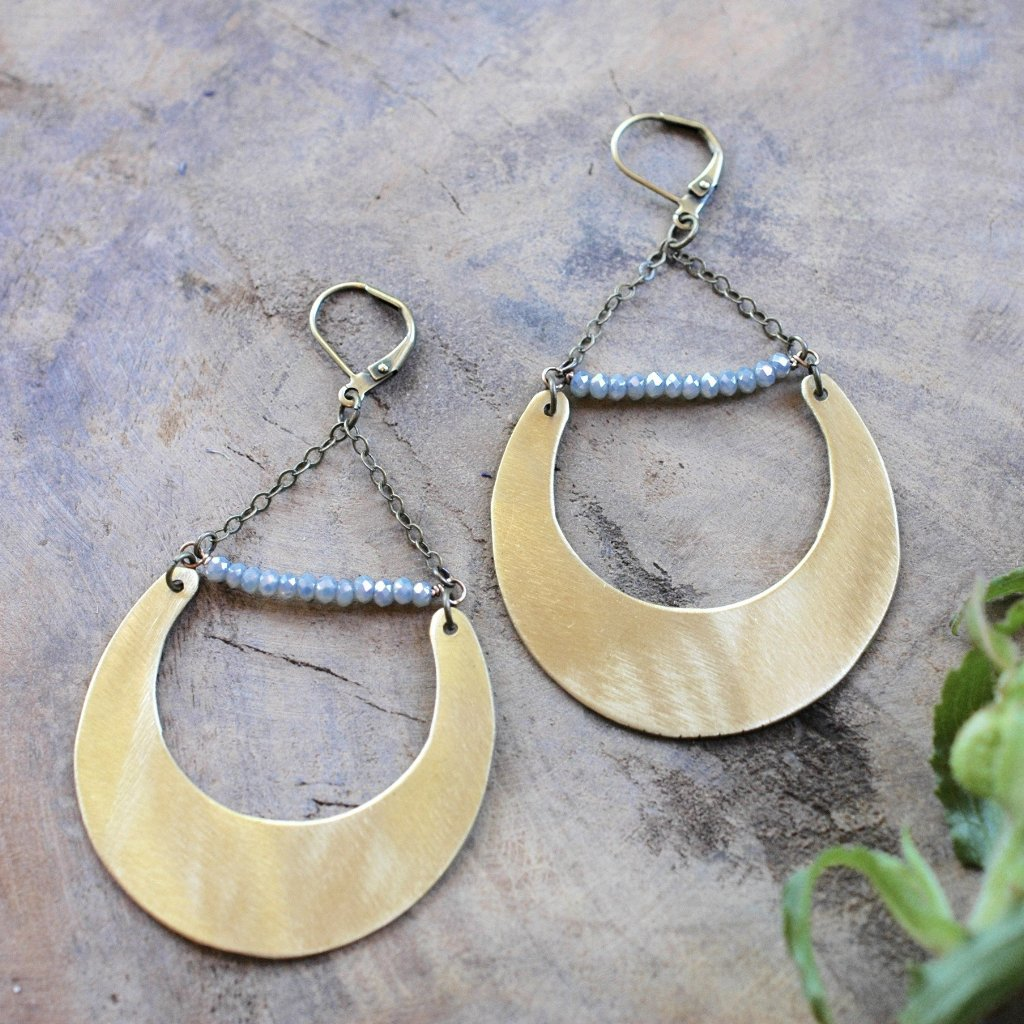 Brass Crescent with Blue Sage Crystals Earring - HXE01 - Harlow Jewelry