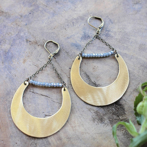 Brass Crescent with Blue Sage Crystals Earring - HXE01