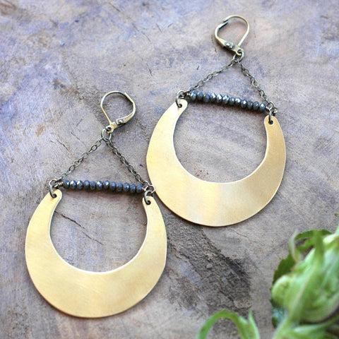 Brass Crescent with Midnight Juniper Crystal Earrings - HXE02