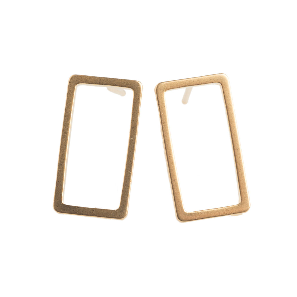 Gold rectangle Earrings - GEE503 - Harlow Jewelry - 1