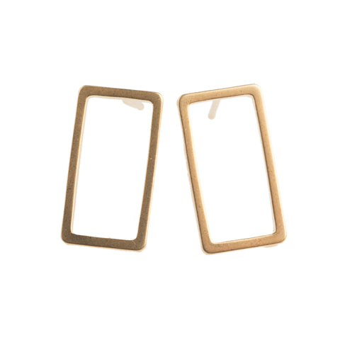 Gold rectangle Earrings - GEE503