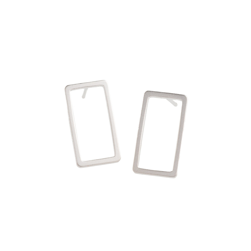 Silver Rectangle Earrings - GEE504 - Harlow Jewelry - 1