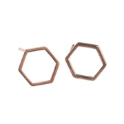 Rose Gold Hexagon Earrings -GEE507 - Harlow Jewelry - 1