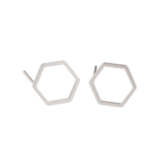 Silver Hexagon Earrings - GEE508 - Harlow Jewelry - 1