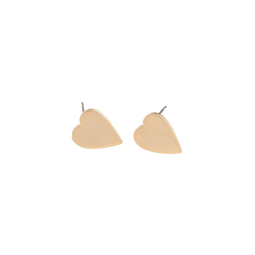 Gold Heart Earrings - GEE513 - Harlow Jewelry - 1